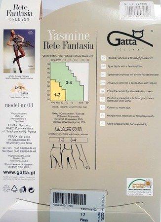 Rajstopy Ażurowe Gatta 1-2 (S) Yasmine 03 (beż)